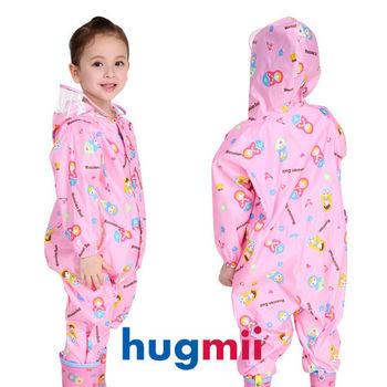 【hugmii】童趣造型連身兒童雨衣_粉色娃娃