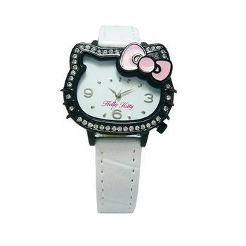 Hello Kitty 凱蒂晶鑽獨特亮眼造型時尚優質腕錶-黑+白-LK620LBWW