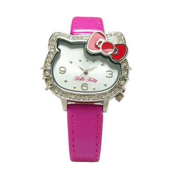 Hello Kitty 凱蒂晶鑽獨特亮眼造型時尚優質腕錶-桃紅-LK620LWWP