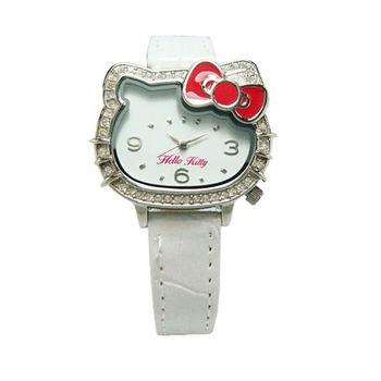 Hello Kitty 凱蒂晶鑽獨特亮眼造型時尚優質腕錶-白色-LK620LWWW