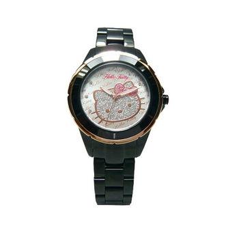 HELLO KITTY 大紅大紫時尚風情優質腕錶-黑+玫瑰金-LK682BTTS