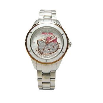 HELLO KITTY 大紅大紫時尚風情優質腕錶-銀+玫瑰金-LK682BTWS