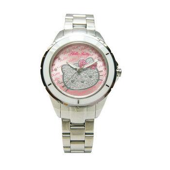 HELLO KITTY 大紅大紫時尚風情優質腕錶-銀+粉紅面-LK682BWPS