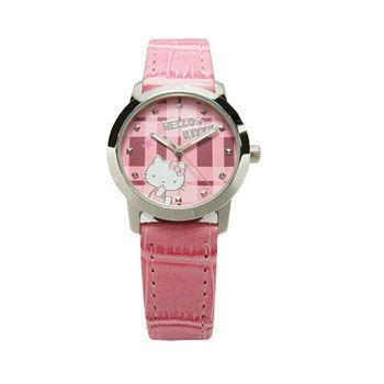 Hello Kitty 童玩博覽會趣味造型時尚皮革腕錶-粉紅-LK683LWPP