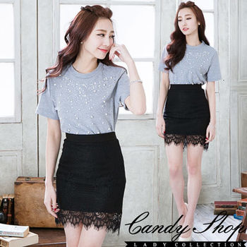 CANDY小舖     蕾絲透視包臀鬆緊短裙 ( 黑 / 白 ) 兩色選