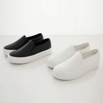 《DOOK》厚底懶人鞋-皮革簡約素面洞洞透氣設計-2色