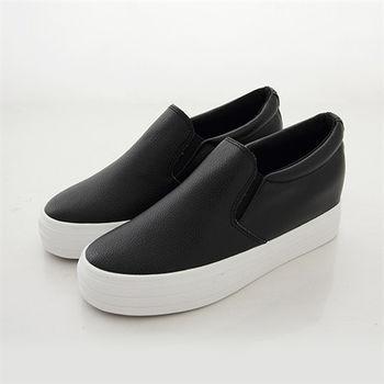 《DOOK》內增高厚底懶人鞋-簡約皮革舒適休閒鞋-黑色