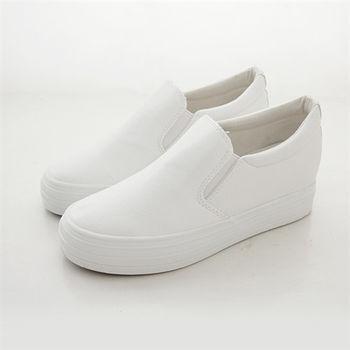 《DOOK》內增高厚底懶人鞋-簡約皮革舒適休閒鞋/小白鞋