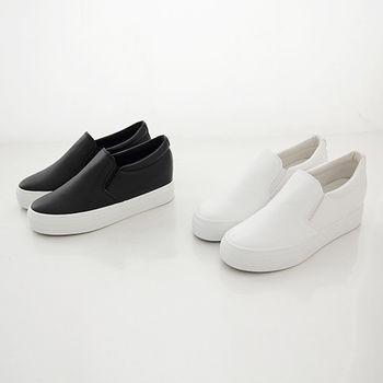 《DOOK》內增高厚底懶人鞋-簡約皮革舒適休閒鞋-2色