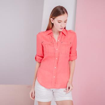 ST. MALO 100%天然頂級亞麻襯衫(卡淺其/玫瑰紅)