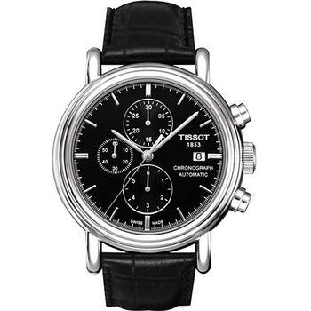 TISSOT T-Carson系列時尚三眼機械腕錶/黑-43mm/T0684271605100