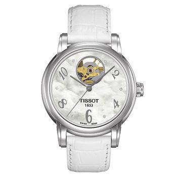TISSOT Lady Heart 系列鏤空機械腕錶-珍珠白-35mm/T0502071611600