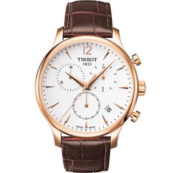 TISSOT Tradition 復刻計時腕錶-白x玫瑰金框/42mm/T0636173603700