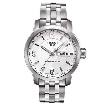TISSOT PRC200 Powermatic 80 時尚機械腕錶-銀/39mm/T0554301101700