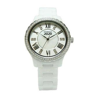 NATURALLY JOJO 花朵之星陶瓷晶鑽時尚優質腕錶-白-JO96900-80F