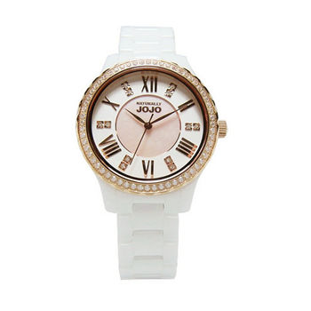 NATURALLY JOJO 花朵之星陶瓷晶鑽時尚優質腕錶-玫瑰金-JO96900-80R