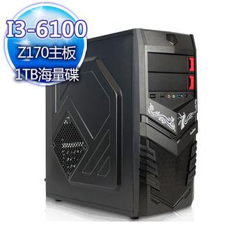 |華碩平台|戰國國度 Intel i3-6100雙核 1TB大容量桌上型電腦