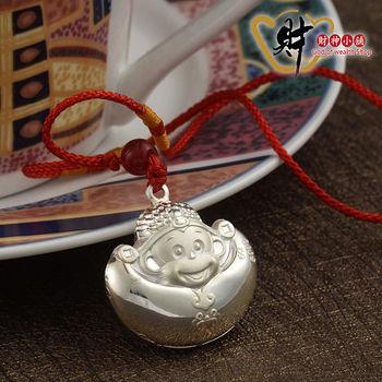 【財神小舖】財神猴-元寶項鍊-紅線(999純銀)《含開光》事業高升,財源滾滾