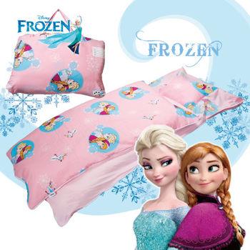 冰雪奇緣 雪花飄飄 粉 兒童睡袋 標準