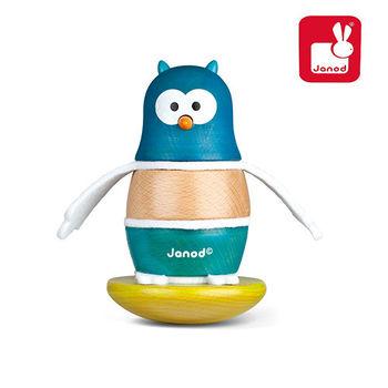 法國Janod創意兒童智玩-層層疊搖滾樂-不睡覺貓頭鷹