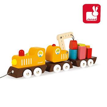 法國Janod創意兒童智玩-經典設計木玩-胖嘟嘟工程火車