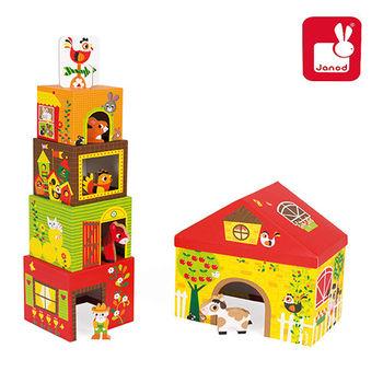 法國Janod創意兒童智玩-盒中盒故事集-快樂農舍