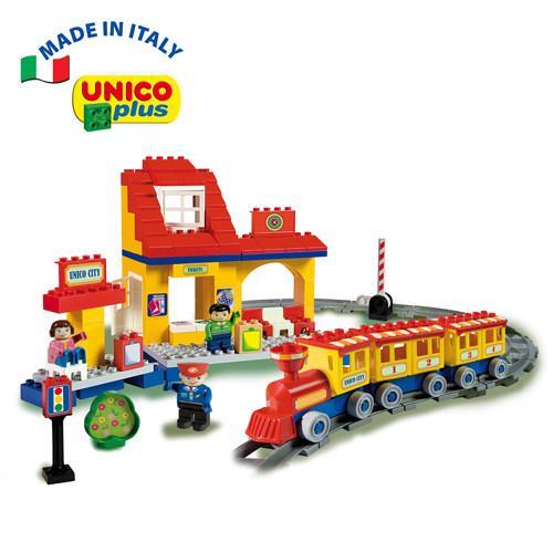 【義大利Unico】歡樂小火車軌道組-113pcs