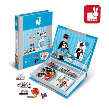 法國Janod創意兒童智玩-磁鐵遊戲書-男孩變裝秀