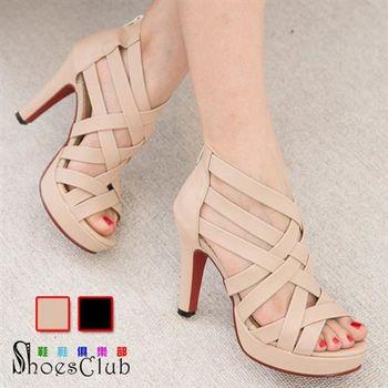 【Shoes Club】【023-838】跟鞋.台灣製MIT 交叉造型高跟露趾羅馬鞋魚口涼鞋.2色 黑/米