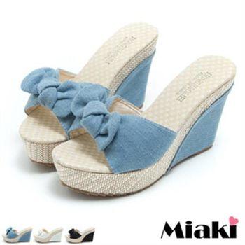 【Miaki】涼拖韓版單寧坡跟楔型涼鞋(藍色 / 白色 / 黑色)