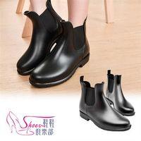 ~ShoesClub~~054~902~梅雨季 百搭素面短筒雨靴.黑色~ShoesClub