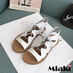 Miaki涼鞋韓式不敗平底露趾羅馬鞋(黑色/白色)