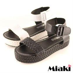 Miaki涼鞋精選韓風麻編厚底涼拖(黑色/白色)