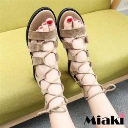 Miaki涼鞋韓國嚴選露趾羅馬涼鞋(黑色/杏色)