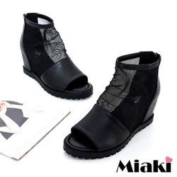Miaki涼鞋韓式網狀坡跟露趾包鞋(黑色)