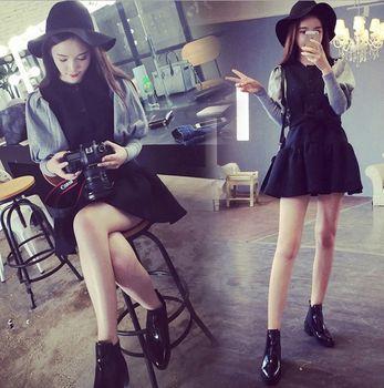 (現貨+預購 RN-girls)-時尚韓系燈籠袖假兩件長袖洋裝