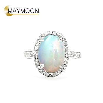 MAYMOON 絢麗遊彩 18K白金天然歐泊鑽石戒指