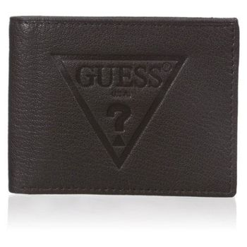 【Guess 】2016男時尚大浮雕三角logo黑色皮夾-(預購)