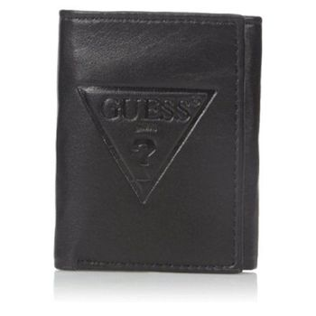 【Guess 】2016男時尚大浮雕三角logo三折黑色皮夾-(預購)