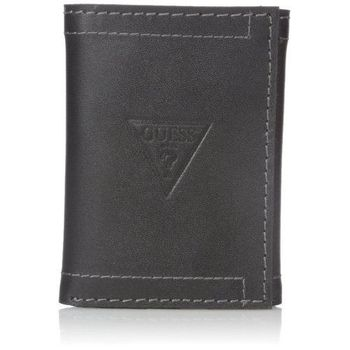 【Guess 】2016男時尚Prescott三角logo三折黑色皮夾-(預購)