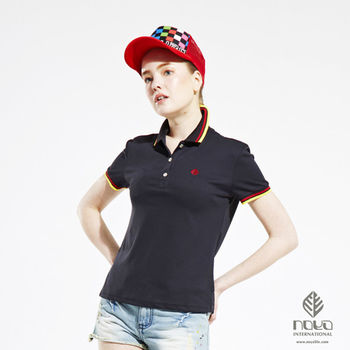 【NOYA】Coolmax透氣吸排經典設計女款螺紋POLO衫 黑色