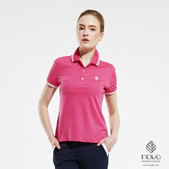 【NOYA】Coolmax透氣吸排經典設計女款螺紋POLO衫 亮桃紅