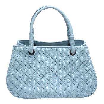BOTTEGA VENETA 經典小羊皮編織雙層磁釦手提包(粉藍色)