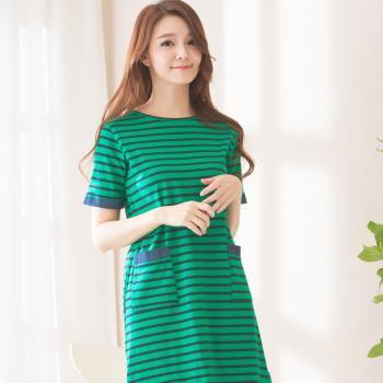 Wonderland 條紋層次居家休閒洋裝(綠)