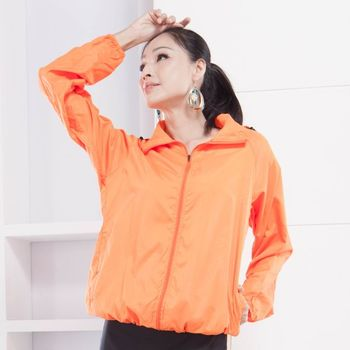 【M.G】(橘色)防風抗水遮日曬機能風衣  超輕薄,男性、女性都適穿,抗UV、防風、抗雨水,體積小巧易攜帶,有型又好看!