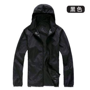 【M.G】(黑色) 防風抗水遮日曬機能風衣   超輕薄,男性、女性都適穿,抗UV、防風、抗雨水,體積小巧易攜帶,有型又好看!
