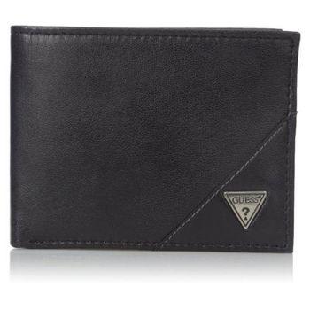 【Guess 】2016男時尚Belmont金屬logo牌黑色羊皮皮夾-(預購)