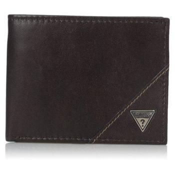 【Guess 】2016男時尚Belmont金屬logo牌深棕色羊皮皮夾-(預購)
