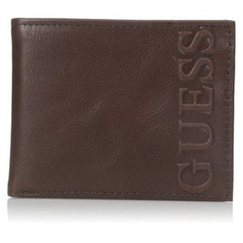 【Guess 】2016男時尚Portola大logo浮雕深棕色皮夾-(預購)