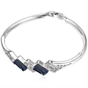 【米蘭精品】925純銀手環水晶手鍊精緻簡約方形風格